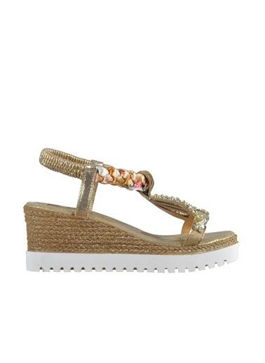 Mhd Mhd Taşlı Simli Dolgu Topuk Kadın Sandalet Altın